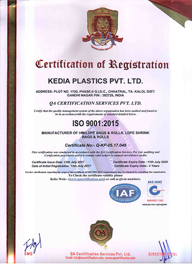 certificate - LDPE Printed Rolls Manufacturer